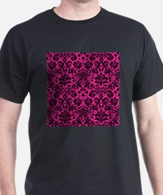 Hot pink and black damask T-Shirt