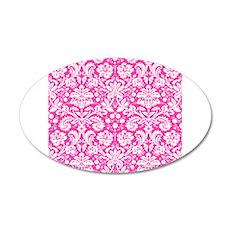 Hot pink damask pattern Wall Sticker