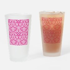 Hot pink damask pattern Drinking Glass