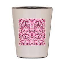 Hot pink damask pattern Shot Glass