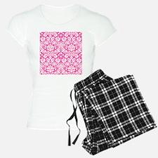 Hot pink damask pattern pajamas