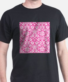 Hot pink damask pattern T-Shirt