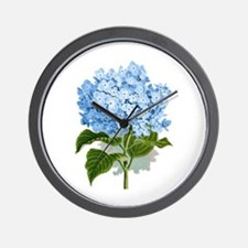 Blue hydrangea flowers Wall Clock