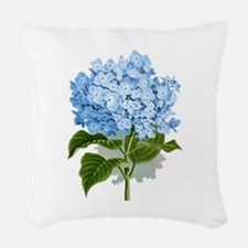 Blue hydrangea flowers Woven Throw Pillow