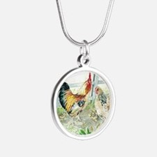 Rooster, Hen  Chicks Silver Round Necklace