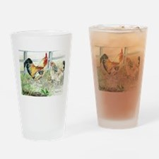 Rooster, Hen  Chicks Drinking Glass