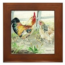 Rooster, Hen  Chicks Framed Tile