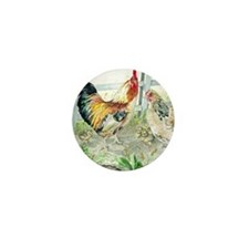 Rooster, Hen  Chicks Mini Button