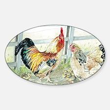 Rooster, Hen  Chicks Sticker (Oval)