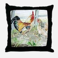 Rooster, Hen  Chicks Throw Pillow