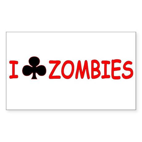 """I Club Zombies"" Rectangle Sticker"