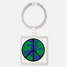 World Peace Round Globe Square Keychain