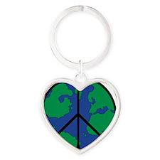 World Peace Round Globe Heart Keychain