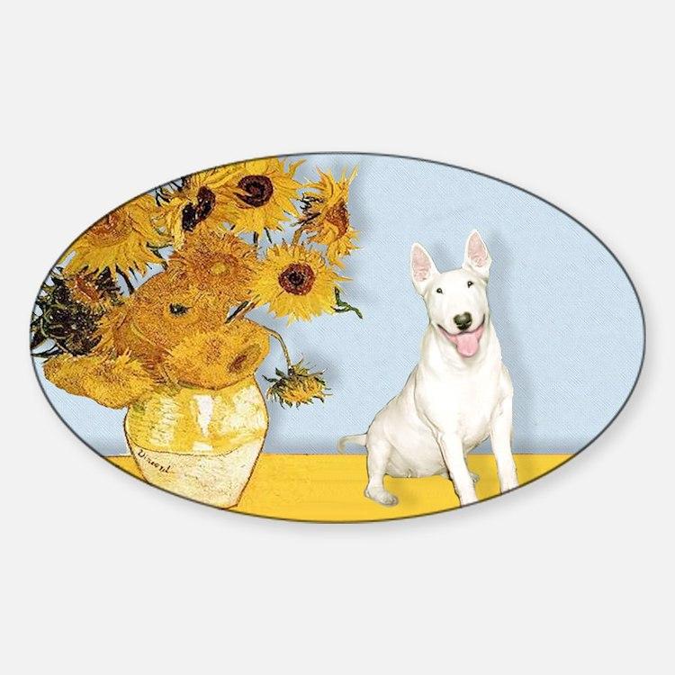 Sunflowers - Bull Terrier 4 Sticker (Oval)