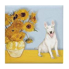 Sunflowers - Bull Terrier 4 Tile Coaster