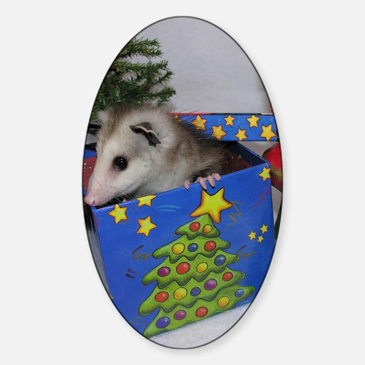 Opossum Christmas Present Decal