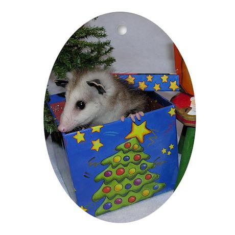 Opossum Christmas Present Oval Ornament