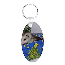 Opossum Christmas Present Aluminum Oval Keychain