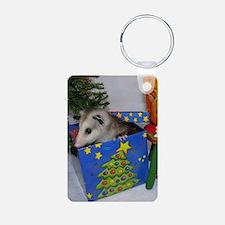 Opossum Christmas Present Aluminum Photo Keychain