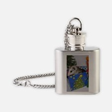 Opossum Christmas Present Flask Necklace