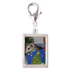 Opossum Christmas Present Silver Portrait Charm