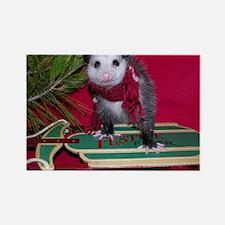 Possum on Christmas sled Rectangle Magnet