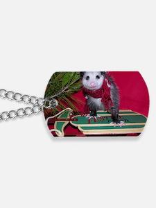 Possum on Christmas sled Dog Tags