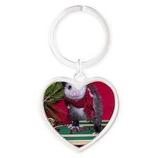 Possum on Christmas sled Heart Keychain