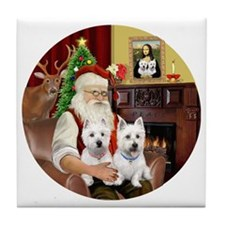 Santa (R) - Two Westies Tile Coaster