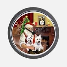 Santa (R) - Two Westies Wall Clock