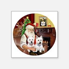 "Santa (R) - Two Westies Square Sticker 3"" x 3"""
