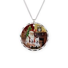 Santa (R) - Two Westies Necklace Circle Charm