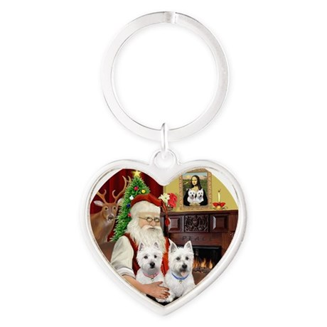 Santa (R) - Two Westies Heart Keychain