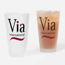 via-logo color Drinking Glass