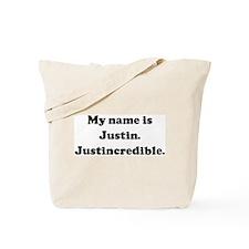 My name is Justin. Justincred Tote Bag