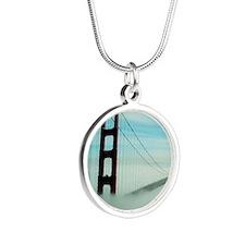Golden Gate Bridge in Fog Silver Round Necklace