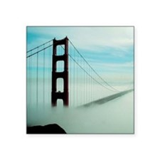"Golden Gate Bridge in Fog Square Sticker 3"" x 3"""