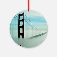 Golden Gate Bridge in Fog Round Ornament