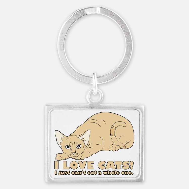 i love cats Landscape Keychain