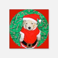 "Santa Claus Golden Retrieve Square Sticker 3"" x 3"""