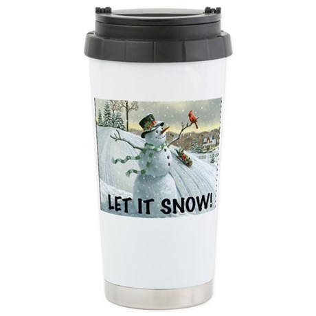 SNOWMAN YARD SIGN Stainless Steel Travel Mug