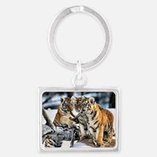 Tiger Cubs in the Snow Landscape Keychain