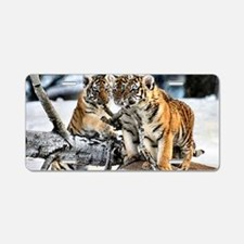 Tiger Cubs in the Snow Aluminum License Plate