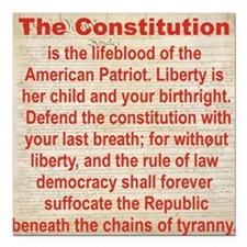 "2-THE CONSTITUTION Square Car Magnet 3"" x 3"""