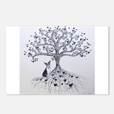 Boston Terrier love tree hearts Postcards (Package