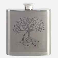 Boston Terrier love tree hearts Flask