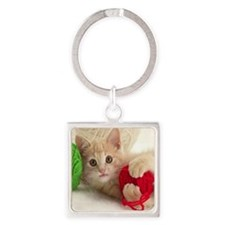 Yarn Kitty mousepad Square Keychain