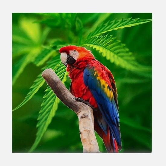 scarlet macaw peace love d Tile Coaster