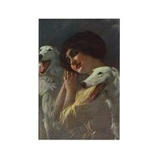 Lady And Borzoi Rectangle Magnet
