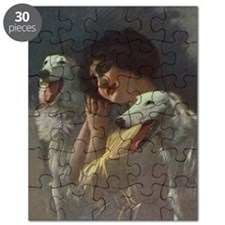 Lady And Borzoi Puzzle